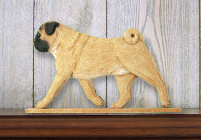 Pug Dog Figurine Sign Plaque Display Wall Decoration Fawn