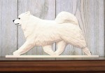 Samoyed Dog Figurine Sign Plaque Display Wall Decoration