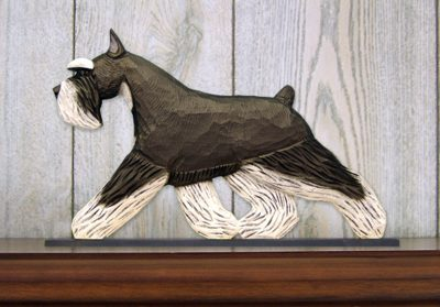 Schnauzer Miniature Dog Figurine Sign Plaque Display Wall Decoration Black/Silver