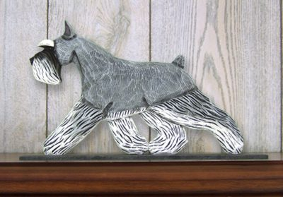 Schnauzer Miniature Dog Figurine Sign Plaque Display Wall Decoration Salt/Pepper
