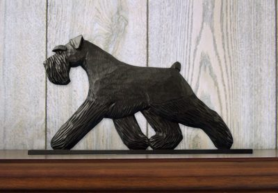 Schnauzer Uncropped Dog Figurine Sign Plaque Display Wall Decoration Black 1