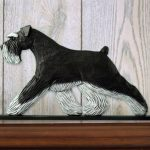 Schnauzer Uncropped Dog Figurine Sign Plaque Display Wall Decoration Black/Silver 1