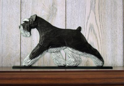 Schnauzer Uncropped Dog Figurine Sign Plaque Display Wall Decoration Black/Silver
