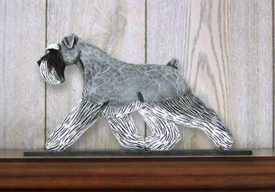 Schnauzer Uncropped Dog Figurine Sign Plaque Display Wall Decoration Salt/Pepper 1