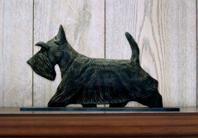 Scottish Terrier Dog Figurine Sign Plaque Display Wall Decoration Brindle 1