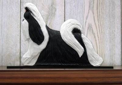 Shih Tzu Dog Figurine Sign Plaque Display Wall Decoration Black & White 1