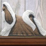 Shih Tzu Dog Figurine Sign Plaque Display Wall Decoration Brown & White 1