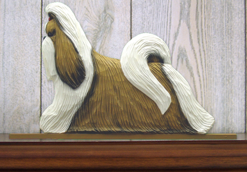 Shih Tzu Dog Figurine Sign Plaque Display Wall Decoration Gold & White