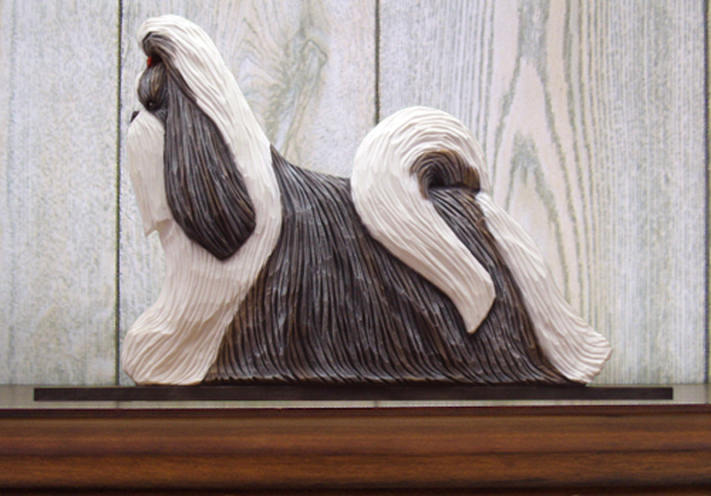 Shih Tzu Dog Figurine Sign Plaque Display Wall Decoration Silver & White