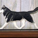 Siberian Husky Black White Figurine Plaque Display