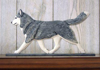 Siberian Husky Gray White Figurine Plaque Display