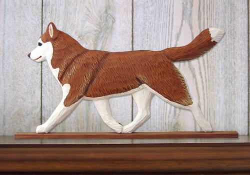 Siberian Husky Red White Figurine Plaque Display
