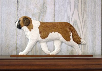 Saint Bernard Dog Figurine Sign Plaque Display Wall Decoration
