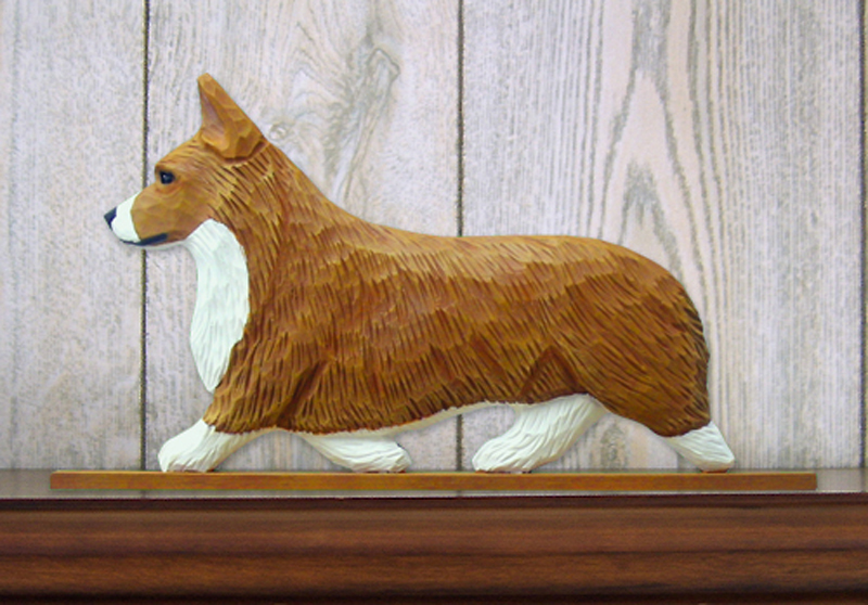 Welsh Corgi Pembroke Dog Figurine Sign Plaque Display Wall Decoration Red