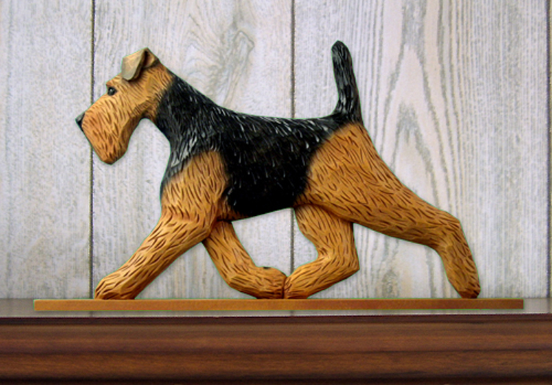 Welsh Terrier Dog Figurine Sign Plaque Display Wall Decoration