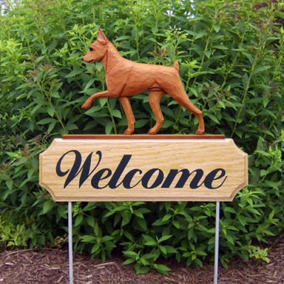 Mini Pinscher Outdoor Yard Welcome Sign Red