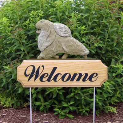 Pomeranian Cream Outdoor Welcome Garden Sign