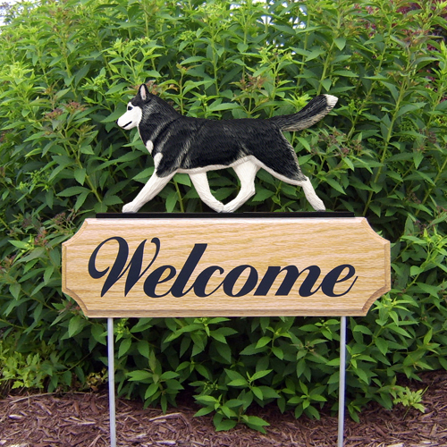 Siberian Husky Black White Outdoor Welcome Wood Dog Sign