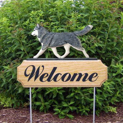 Siberian Husky Gray White Outdoor Welcome Wood Dog Sign