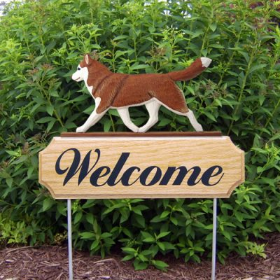 Siberian Husky Red White Outdoor Welcome Wood Dog Sign