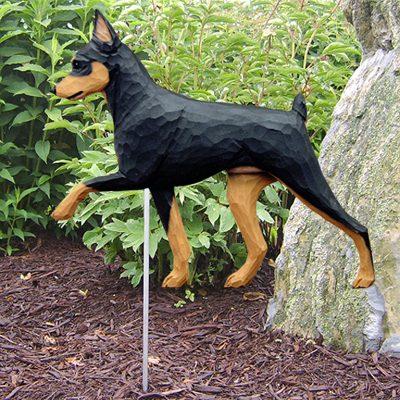 Mini Pinscher Outdoor Yard Figurine Sign Black/Tan