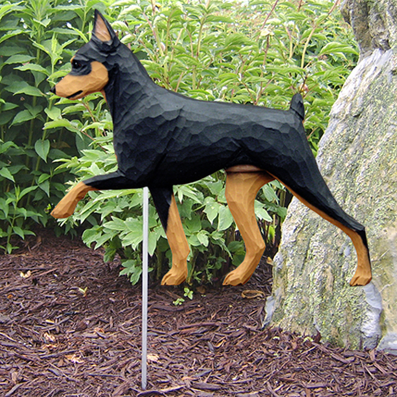 Mini Pinscher Outdoor Yard Figurine Sign Black/Tan