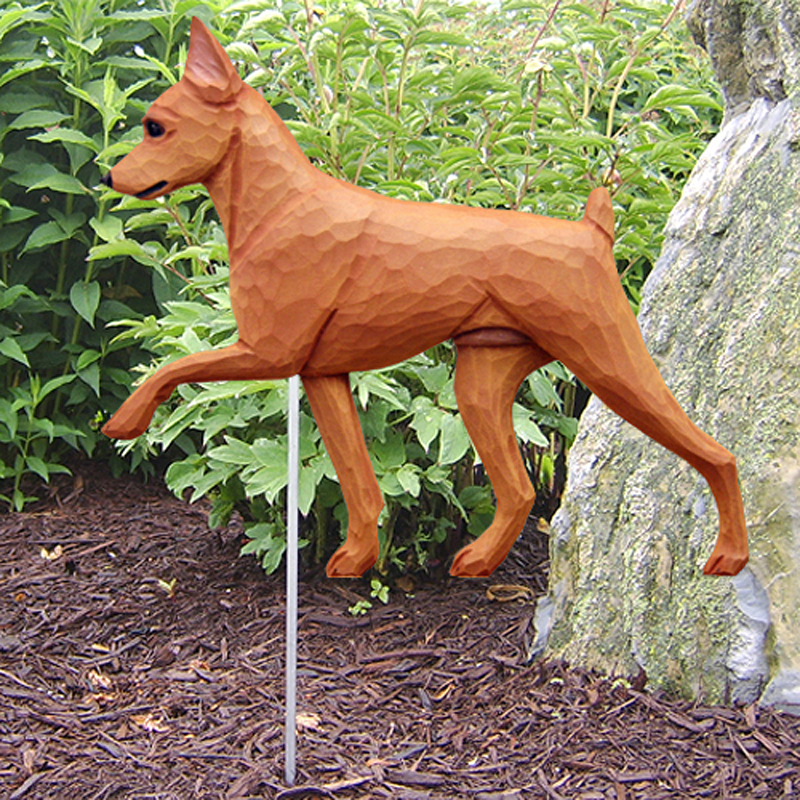 Mini Pinscher Outdoor Yard Figurine Sign Red