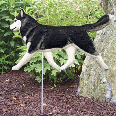 Siberian Husky Black White Outdoor Wood Figurine Dog Sign