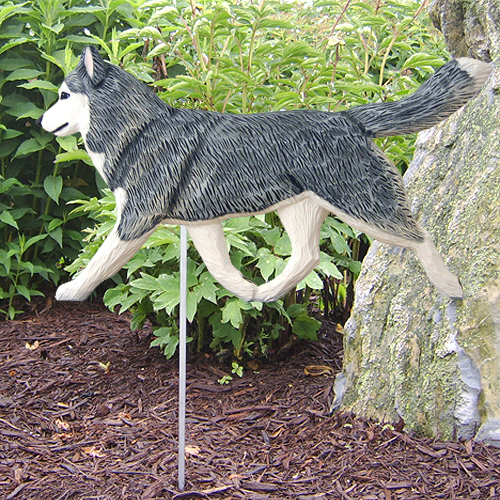 Siberian Husky Gray White Outdoor Wood Figurine Dog Sign