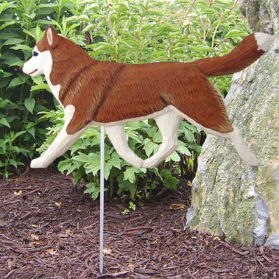Siberian Husky Red White Outdoor Wood Figurine Dog Sign