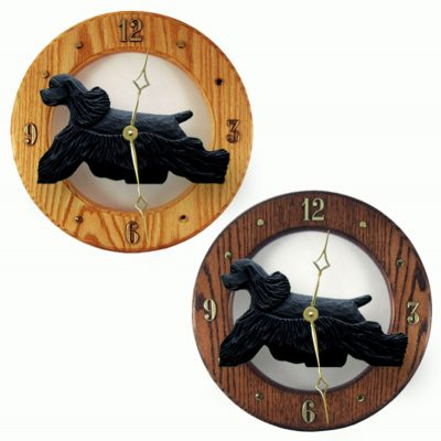 Cocker Spaniel Wood Clock Wall Plaque Black