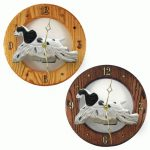 Cocker Spaniel Wood Wall Clock Plaque Blk Parti