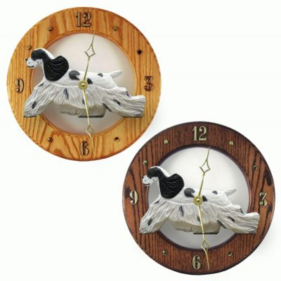 Cocker Spaniel Wood Wall Clock Plaque Blk Parti 1