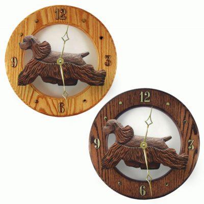 Cocker Spaniel Wood Wall Clock Plaque Brn 1