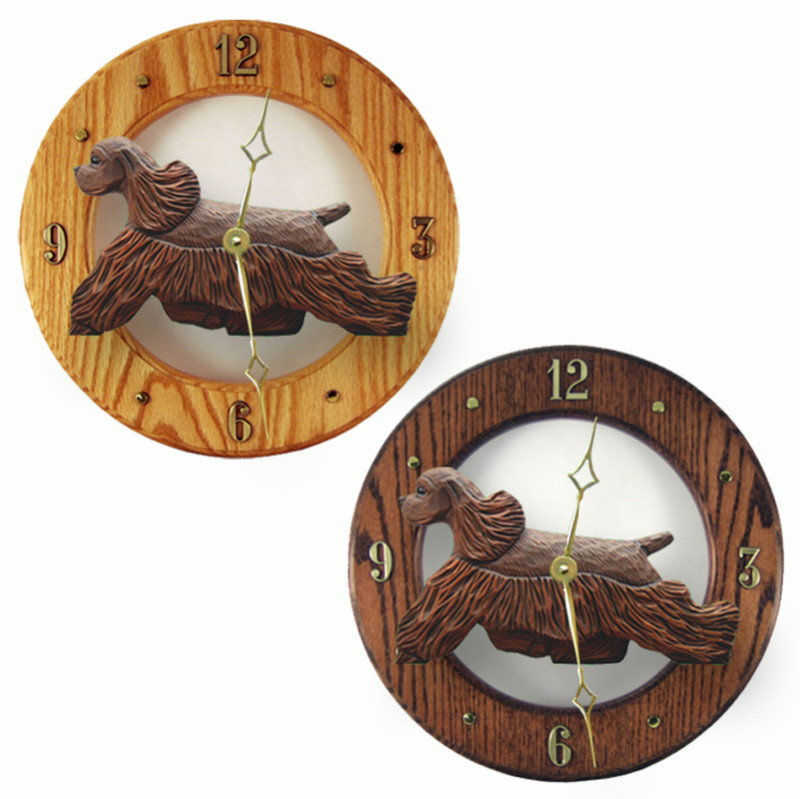 Cocker Spaniel Wood Wall Clock Plaque Brn