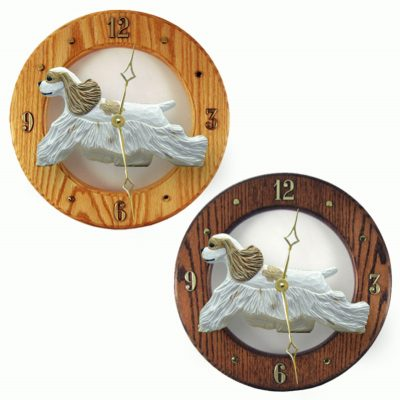 Cocker Spaniel Wood Wall Clock Plaque Brn Parti 1