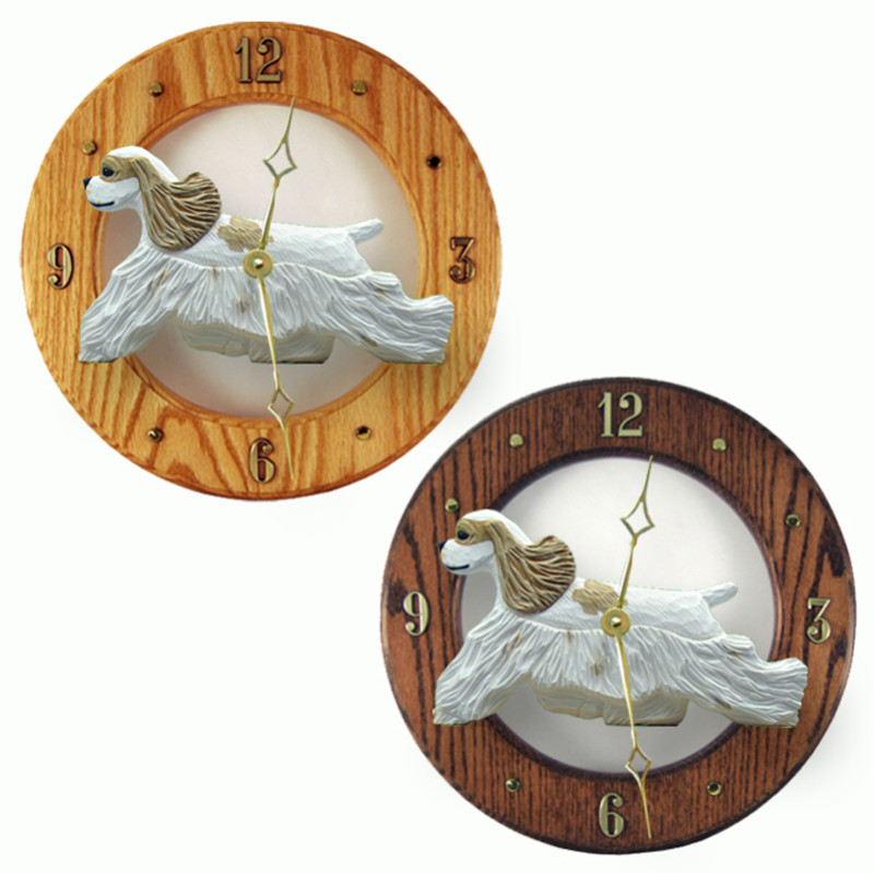 Cocker Spaniel Wood Wall Clock Plaque Brn Parti