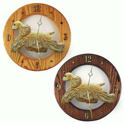 Cocker Spaniel Wood Wall Clock Plaque Buff