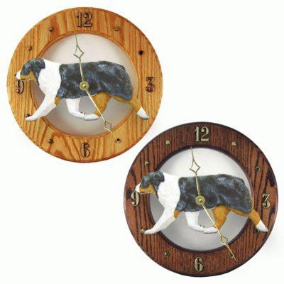 Australian Shepherd Wood Wall Clock Plaque Blue 1