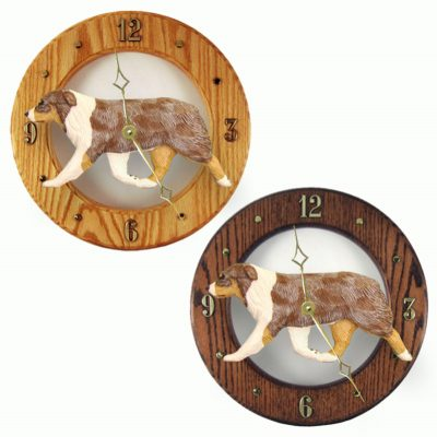 Australian Shepherd Wood Wall Clock Plaque Red 1