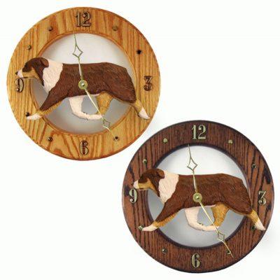 Australian Shepherd Wood Wall Clock Plaque Red Tri