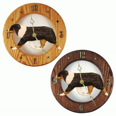 Australian Shepherd Wood Wall Clock Plaque Tri