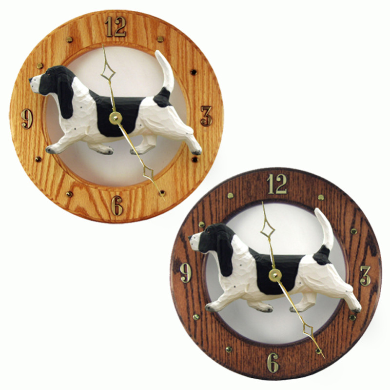 Basset Hound Wood Wall Clock Plaque Blk/Wht