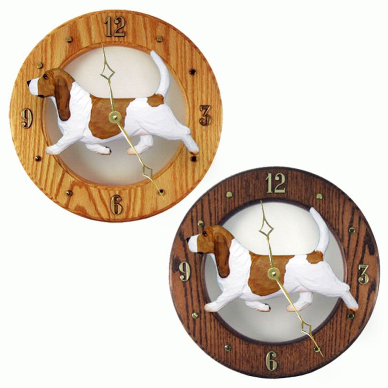 Basset Hound Wood Wall Clock Plaque Red/Wht