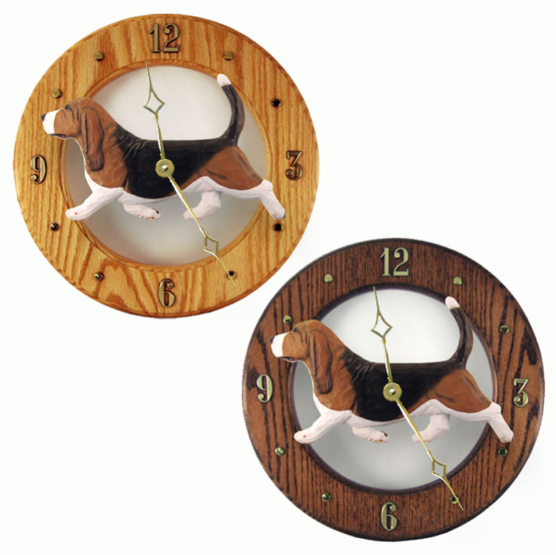 Basset Hound Clock Tri Color