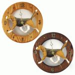 Beagle Wood Clock Wall Plaque Tri