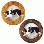 Border Collie Wood Wall Clock Plaque Blk Tri
