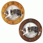 Border Collie Wood Wall Clock Plaque Blue 1