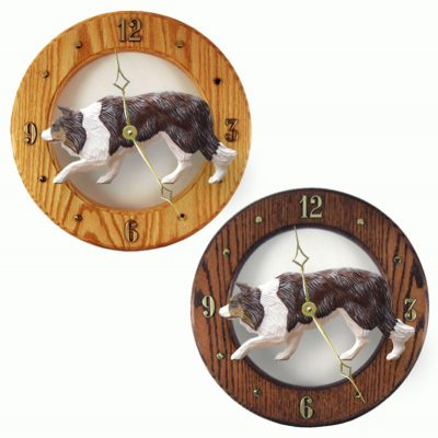 Border Collie Wood Wall Clock Plaque Red 1