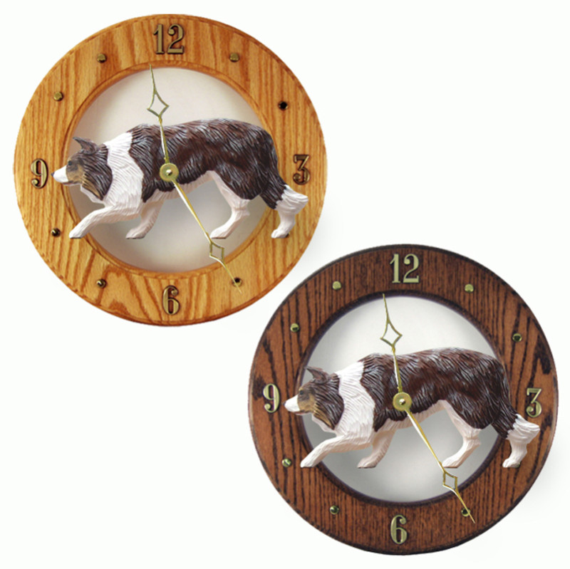 Border Collie Wood Wall Clock Plaque Red